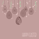 Decorative Card with Hanging Easter hand drawn ornamental eggs a Stock Photography
