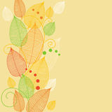 Decorative card with leaflets. Yellow decorative card with leaflets Royalty Free Stock Image