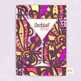 Decorative card menu with cocktail vector illustration