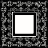 Decorative card with ornament. With place for your text on a black background. Vector illustration Stock Images