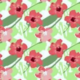 Decorative card red hibiscus flowers on green background. Decorative card red flowers hibiscus on green abstract background festive bouquet Vector Illustration