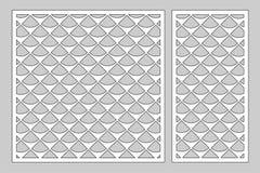 Decorative card set for cutting laser or plotter. Diagonal square pattern panel. Laser cut. Ratio 1:1; 1:2. Vector illustration. vector illustration