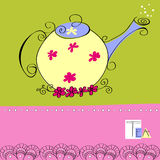 Decorative card with teapot Stock Photography