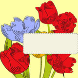 Decorative card with tulips Royalty Free Stock Photography