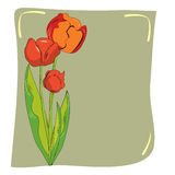 Decorative card with tulips. Decorative card with decorative red tulips Stock Photo
