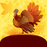 Decorative card with turkey. Thanksgiving decorative card with turkey on autumn background Stock Photo