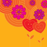 Decorative card with two hearts. In love Royalty Free Stock Images