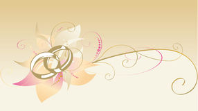 Decorative card with wedding rings stock image