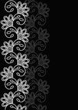 Decorative card. White vertical seamless pattern on a black background. Pattern for wedding, marriage, bridal, birthday, Valentine`s day.Vector illustration Stock Photo