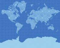 Decorative card of the world. In dark blue tones stock illustration