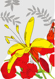 Decorative card with yellow flower Stock Photos