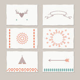 Decorative cards with ethnic elements. Ethnic cards with tribal motifs, vector tag cards Royalty Free Stock Photo