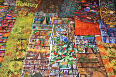 Decorative carpets at the market of Santiago de Atitlan Stock Photos