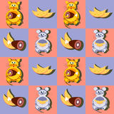 Decorative cartoon cat and mouse with his favorite food, cheese and meat seamless pattern Stock Photos