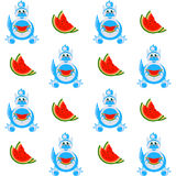 Decorative cartoon dragon with a slice of watermelon seamless pattern Stock Image