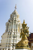 Decorative carved angels and pagoda at Thai temple Royalty Free Stock Image