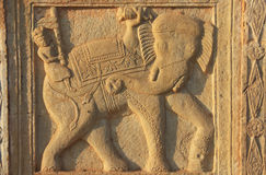 Decorative Carving On The Wall Of 84-Pillared Cenotaph, Bundi, R Stock Images