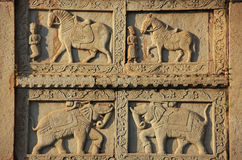 Decorative carving on the wall of 84-Pillared Cenotaph, Bundi, R Royalty Free Stock Photography