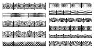 Decorative cast iron fences - seamless borders Royalty Free Stock Photo