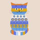 Decorative cat with ethnic ornament Stock Images
