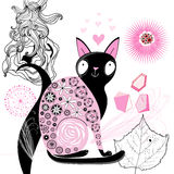 Decorative cat lover. Greeting card with happy cat on the background of the plant Royalty Free Stock Photography
