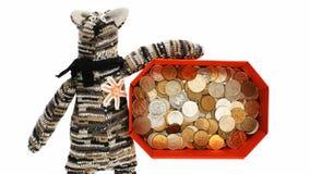 Decorative cat with money box stock footage