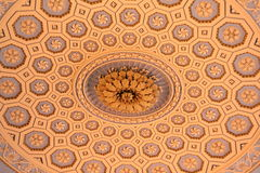 Decorative ceiling. A very ornate ceiling with many patterns showing some delicate designs royalty free stock photos
