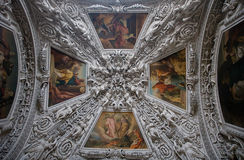 The decorative ceiling. At the Salzburg Cathedral. Austria stock image