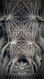 Decorative ceiling. Ornate carved ceiling of an oxford cathedral.  Dramatic lighting Stock Photos