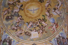 Decorative ceiling paintings of cherubs & dove of peace Royalty Free Stock Image