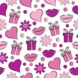 Decorative celebratory seamless background with lips,gift  and hearts Royalty Free Stock Image