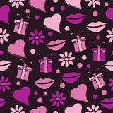 Decorative celebratory seamless background with lips,gift  and hearts Stock Images