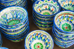 Decorative ceramic cups with traditional blue and green Near Eas Royalty Free Stock Photos