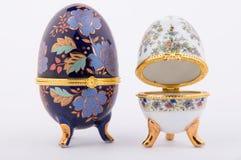 Decorative ceramic Faberge eggs. Isolated on white background Stock Photography
