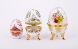 Decorative ceramic Faberge eggs. Isolated on white background Stock Image