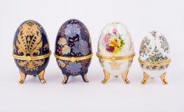 Decorative ceramic Faberge eggs. Isolated on white background Royalty Free Stock Image