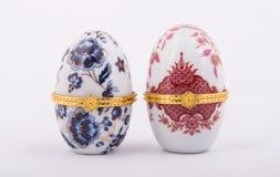 Decorative ceramic Faberge eggs. Isolated on white background Royalty Free Stock Photography