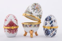 Decorative ceramic Faberge eggs. Isolated on white background Royalty Free Stock Photo