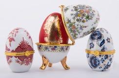 Decorative ceramic Faberge eggs. Isolated on white background Stock Images
