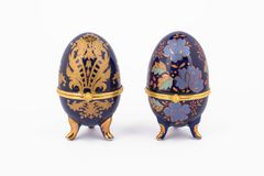 Decorative ceramic Faberge eggs. Isolated on white background Royalty Free Stock Images