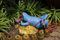 Decorative ceramic frog in garden Royalty Free Stock Images