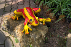Decorative ceramic frog in garden Royalty Free Stock Image