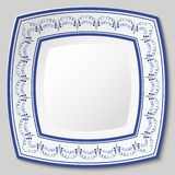Decorative ceramic square dish with blue ethnic pattern in the style of ethnic painting on porcelain. Vector illustration stock illustration