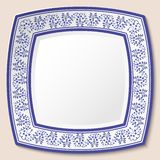 Decorative ceramic square saucer with blue ethnic pattern in the style of ethnic painting on porcelain. Vector illustration royalty free illustration