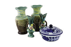 Decorative ceramic vase and bowl isolated Stock Image