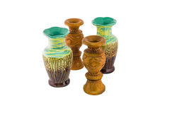 Decorative ceramic and wooden vase isolated Royalty Free Stock Photography