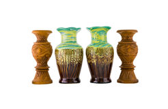 Decorative ceramic and wooden vase isolated Royalty Free Stock Images