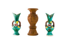Decorative ceramic and wooden vase isolated Royalty Free Stock Photo