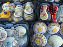 Decorative Traditional Style Ceramics, Segovia, Spain. Decorative ceramics, Segovia, Castile and León, Spain. Authentic artistic pottery with form following royalty free stock photo