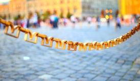 Decorative chain on the Red Square in Moscow Stock Images